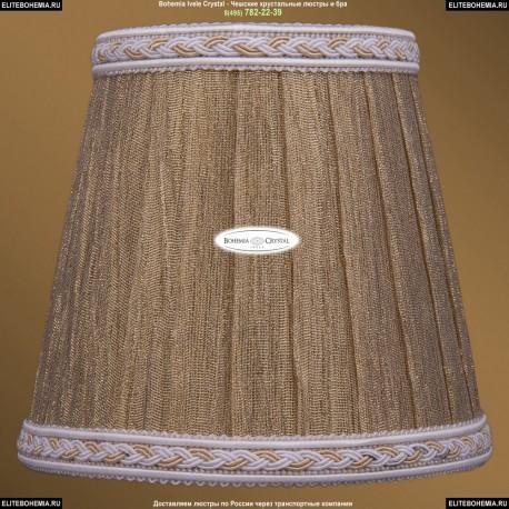 SH7A Абажур золотой индийский шелк с бело-золотой каймой Bohemia Ivele Crystal