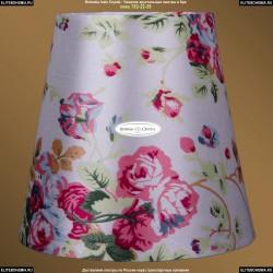 SH28 Абажур белый шелк с розами Bohemia Ivele Crystal