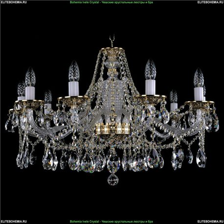 1613/10/300 Bohemia Ivele Crystal, Чешская Подвесная люстра с литым рожком