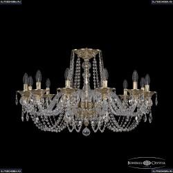 16102/12/300 G Хрустальная подвесная люстра с металлической чашкой Bohemia Ivele Crystal (Богемия), 1602