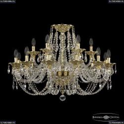 16106/12+6/300 G Хрустальная подвесная люстра с металлической чашкой Bohemia Ivele Crystal (Богемия), 1606
