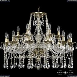16113/12+6/300 GB Хрустальная подвесная люстра с металлической чашкой Bohemia Ivele Crystal (Богемия), 1613