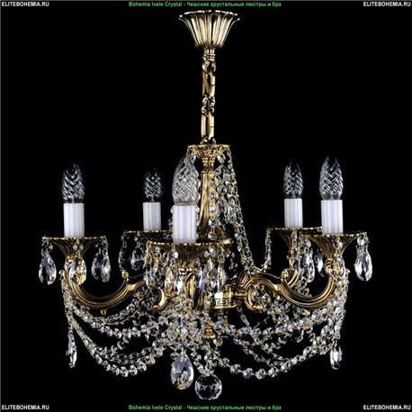 1701/5/C/GB Bohemia Ivele Crystal, Чешская Подвесная люстра с литым рожком