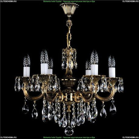 1701/6/B/GB Bohemia Ivele Crystal, Чешская Подвесная люстра с литым рожком