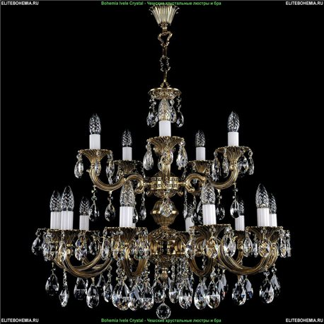 1702/10+5/A/GB Bohemia Ivele Crystal, Чешская Подвесная люстра с литым рожком