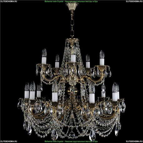 1702/10+5/C/GB Bohemia Ivele Crystal, Чешская Подвесная люстра с литым рожком