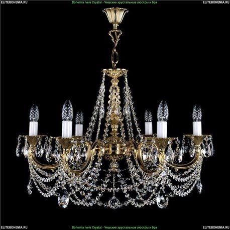 1702/6/C Bohemia Ivele Crystal, Чешская Подвесная люстра с литым рожком