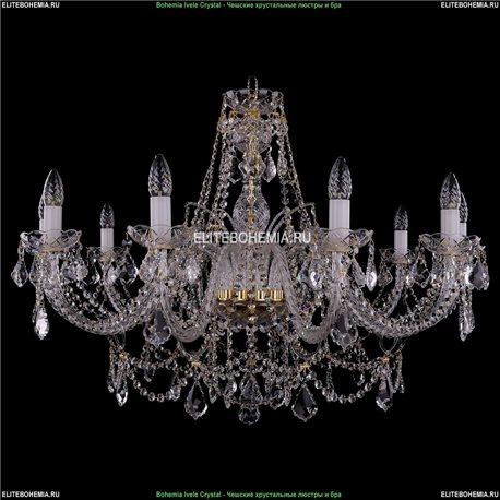 1411/10/360/66/G/Leafs Bohemia Ivele Crystal, Чешская Подвесная люстра с хрустальным рожком