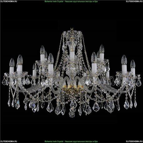 1413/12+6/360/L Bohemia Ivele Crystal, Чешская Подвесная люстра с хрустальным рожком