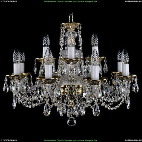 1614/8+4/200 Bohemia Ivele Crystal, Чешская Подвесная люстра с литым рожком
