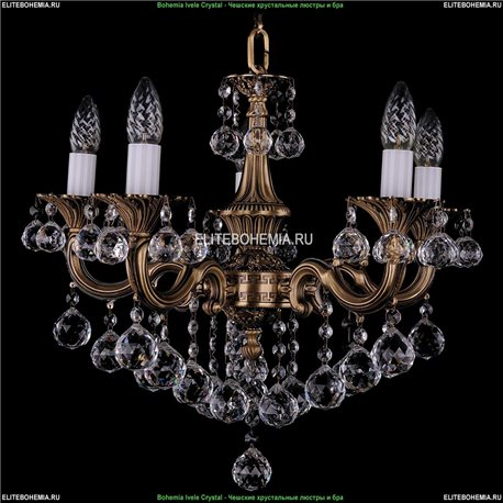 1701/5/B/FP/Balls Bohemia Ivele Crystal, Чешская Подвесная люстра с литым рожком