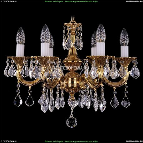 1701/6/A/G/Leafs Bohemia Ivele Crystal, Чешская Подвесная люстра с литым рожком