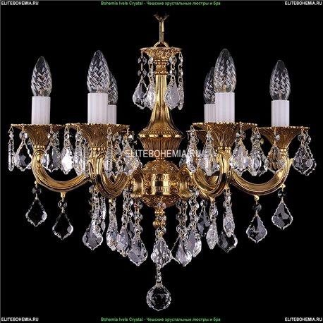 1701/6/B/G/Leafs Bohemia Ivele Crystal, Чешская Подвесная люстра с литым рожком