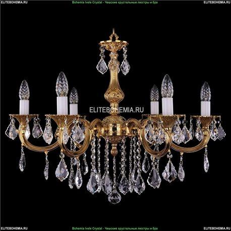 1702/6/B/G/Leafs Bohemia Ivele Crystal, Чешская Подвесная люстра с литым рожком