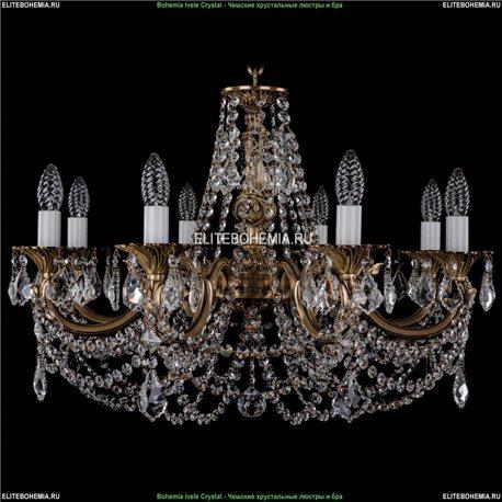 1702/8/C/FP/Leafs Bohemia Ivele Crystal, Чешская Подвесная люстра с литым рожком