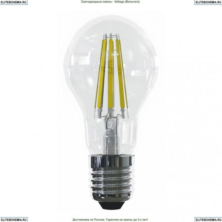 7104 (VG10-A1E27warm15W-F) Voltega Лампа светодиодная филаментная E27 15W 2800К, Груша прозрачная (ЛОН)