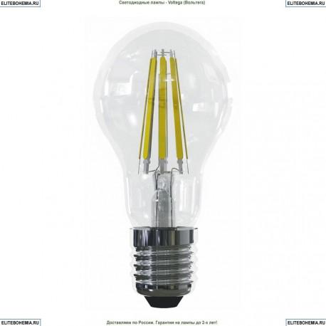 7103 (VG10-A1E27cold15W-F) Voltega Лампа светодиодная филаментная E27 15W 4000К, Груша прозрачная (ЛОН)