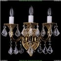 1700/3/A/Leafs/G Бра с элементами художественного литья и хрусталем Bohemia Ivele Crystal (Богемия)