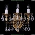 1702B/2+1/175/A/G/Leafs Бра с элементами художественного литья и хрусталем Bohemia Ivele Crystal